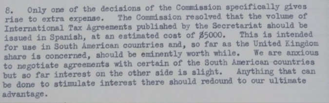 Extract from British participant's report of the UN Fiscal Committee's second session
