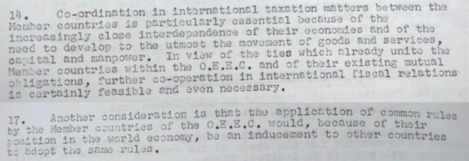Extract from interim report of the OEEC Fiscal Committee, 3 July 1957